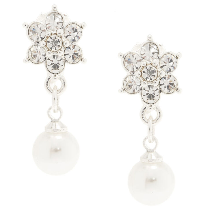 Flower and Faux Pearl Clip On Earrings,