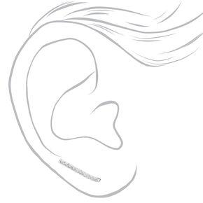 Sterling Silver Embellished Bar Drop Earrings,
