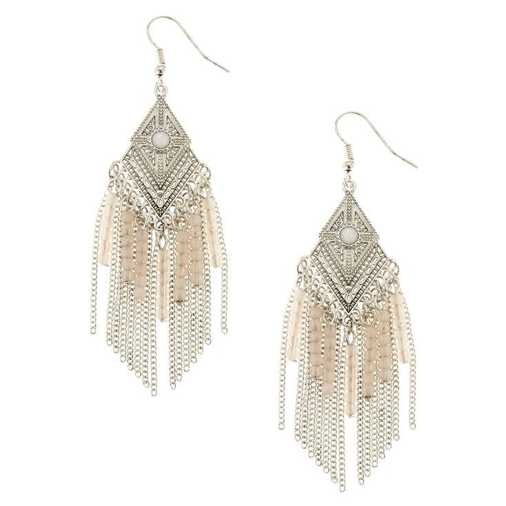 Opal Bohemian Fringe Earrings,