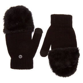 Fingerless Gloves With Fur Mitten Flap - Black,