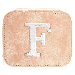 "Blush Pink ""F"" Initial Jewelry Case,"