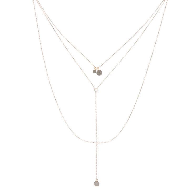 Rose Gold Glitter Disk Multi Strand Necklace,