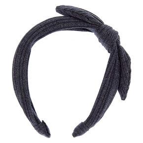 Ribbed Knot Bow Headband - Steel Blue,