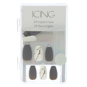 Matte Marble Faux Nail Set - Gray, 24 Pack,