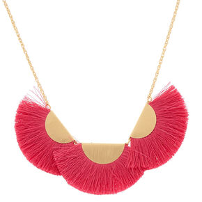 Large Tassel Statement Necklace - Hot Pink,
