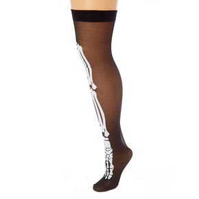 Skeleton Over The Knee Tights - Black,