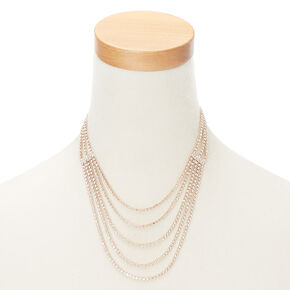 Rose Gold Layered Statement Necklace,