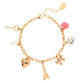 Rose Gold Romantic Eiffel Tower Charm Bracelet,