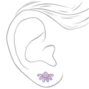Gold Crystal Fan Stud Earrings - Purple,