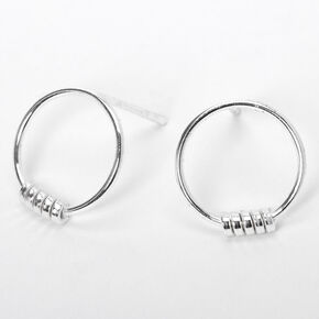 Sterling Silver Hoop Stud Earrings,