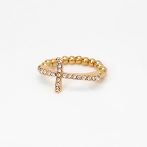 Gold Side Cross Stretch Ring,