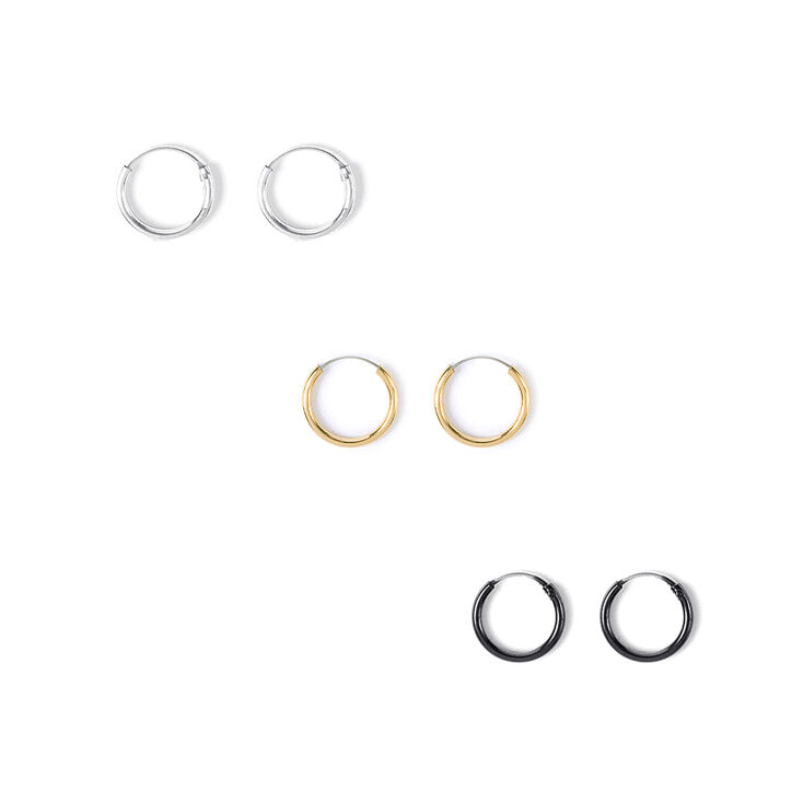Silver, Gold & Black Mini Hoop Earrings  - 3 Pack,