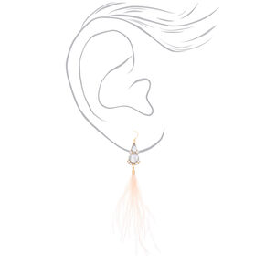 "Feather 5"" Drop Earrings - Blush,"