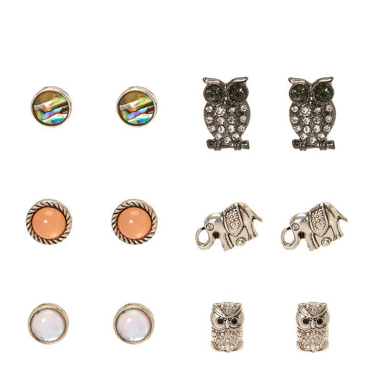 Mystical Owl Motif Stud Earrings,
