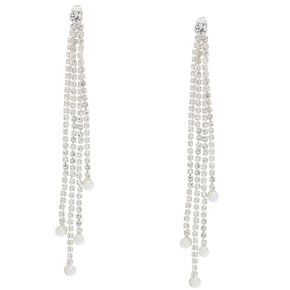 Front Back Embellished Linear Drop Earrings,