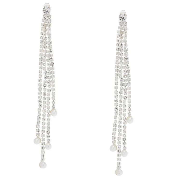 Front Back Embellished Linear Drop Earrings,