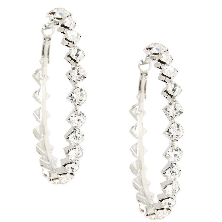 Geometric Crystal Hoop Earrings,