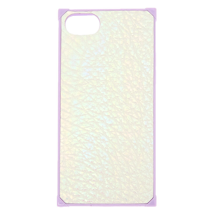 Iridescent Faux Leather Square Phone Case - Purple,