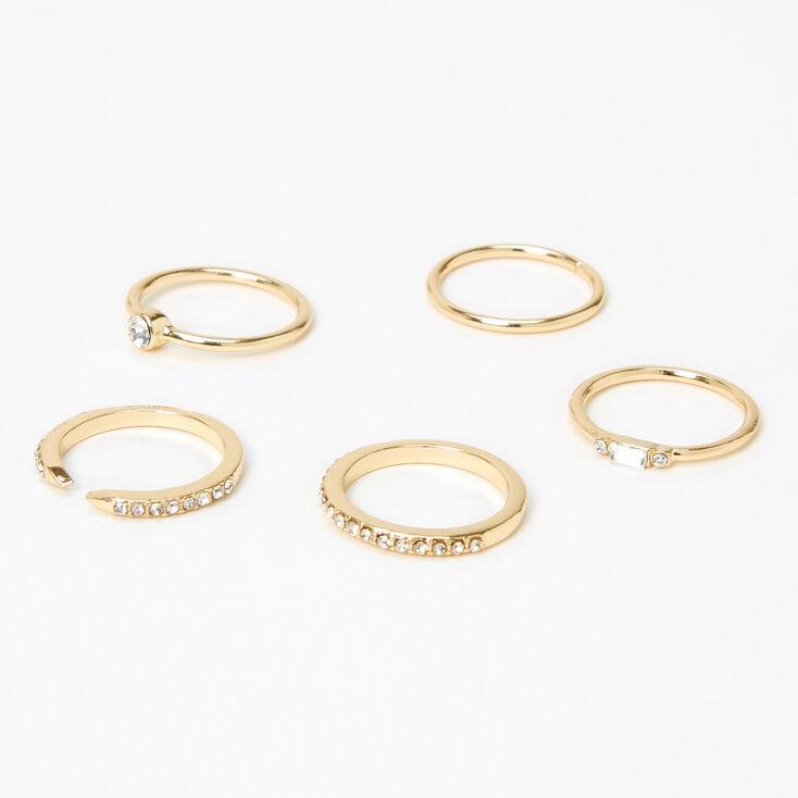 Gold Embellished Studded Rings - 5 Pack,