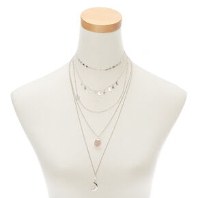 Silver Celestial Multi Strand Choker Necklace,