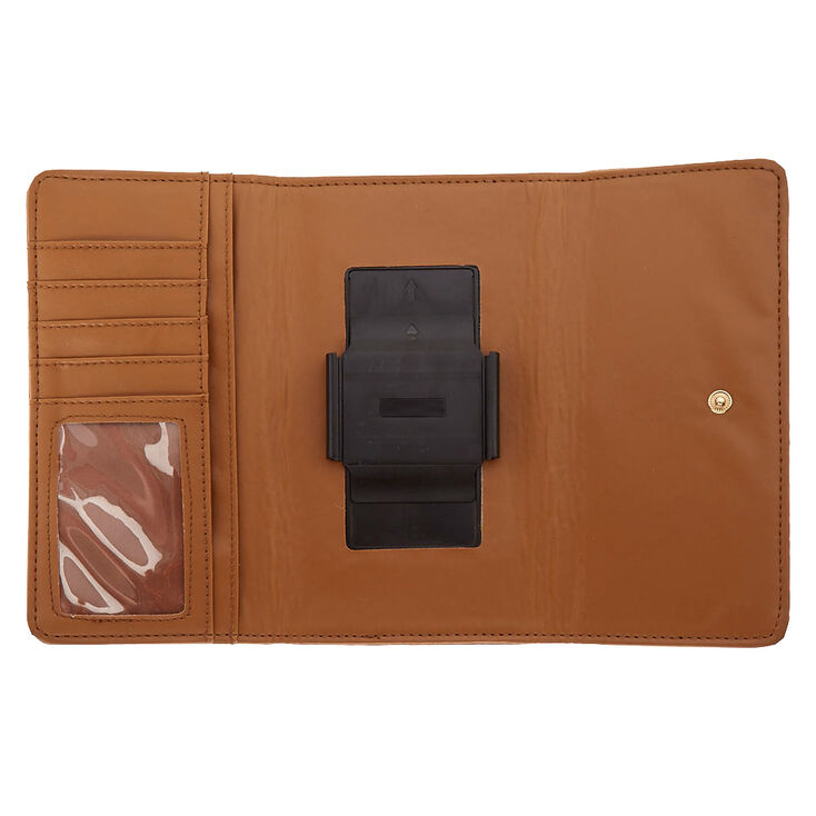 Tan Faux Leather Phone Wallet,