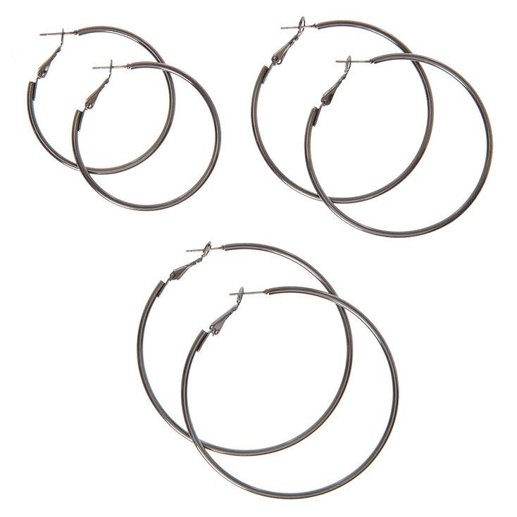 Graduated Black Hoop Earrings,