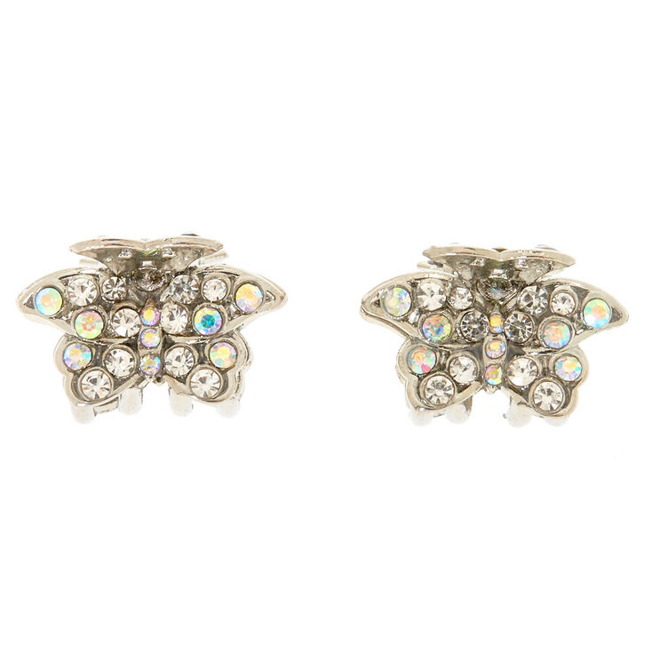 Silver Crystal Butterfly Clips,