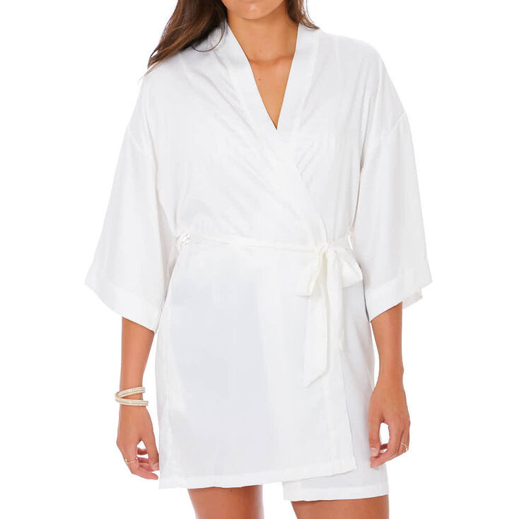 White Satin & Crystal Maid of Honor Robe - S/M,