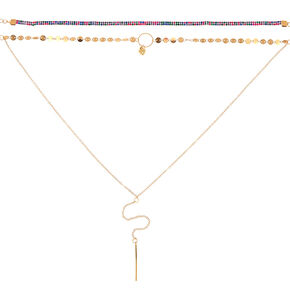 Gold Rainbow Heart Choker Necklace Set - 3,