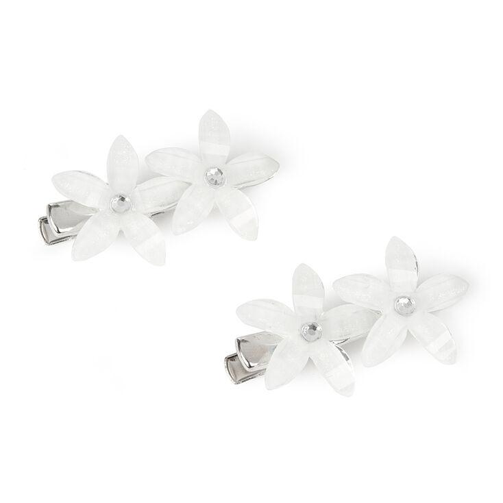 White Glitter Stone Flowers Hair Clips,