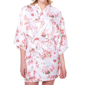Pink Cherry Blossom Floral Satin Robe - S/M,