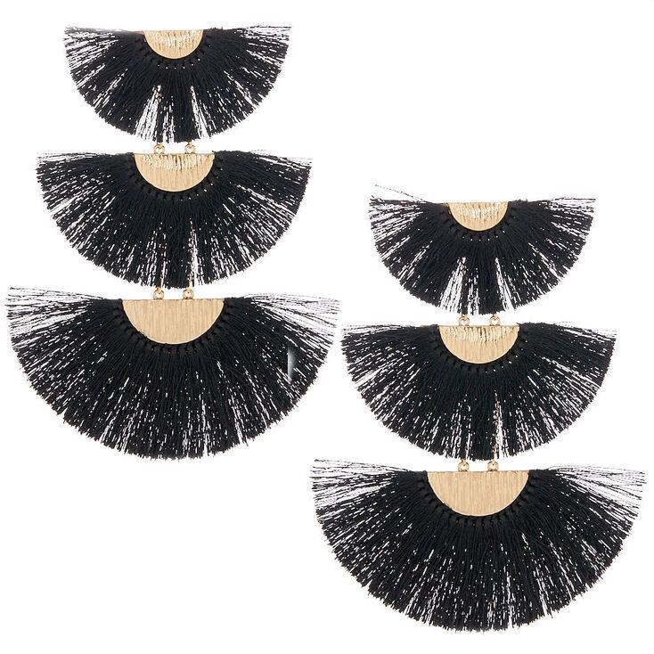 "4.5"" Tiered Crescent Tassel Drop Earrings - Black,"