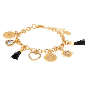 Gold Sunrise Tassel Charm Bracelet - Black,