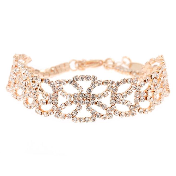Rose Gold Rhinestone Lotus Chain Bracelet,