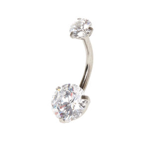 14G Round Cubic Zirconia Belly Bar,