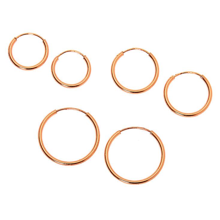 18kt Rose Gold Plated Graduated Sleek Hoop Earrings - 3 Pack,