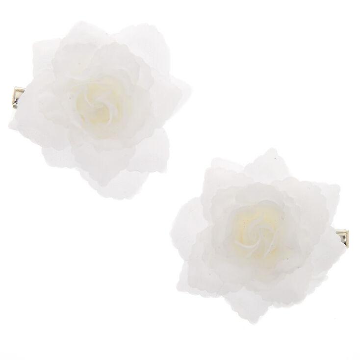 Chiffon Flower Hair Clips - 2 Pack, White,