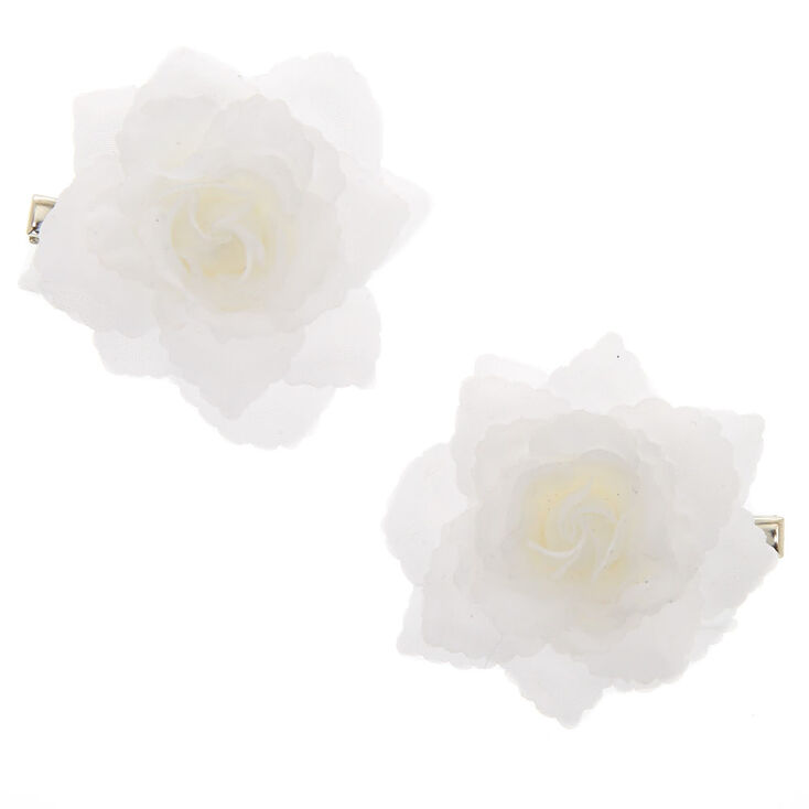 Chiffon Flower Hair Clips - 2 Pack, White,