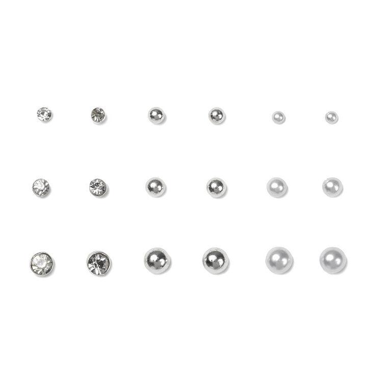 Silver, Pearl & Crystal Stud Earrings Set of 9,