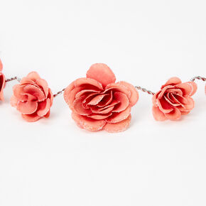Glitter Roses Flower Crown Headwrap - Dusty Rose,