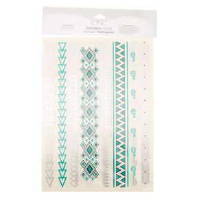 Aztec Jewelry Temporary Tattoos - Teal,
