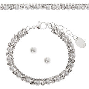 Silver Pearl & Rhinestone Jewelry Set - 3 Pack,