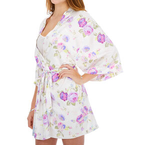 Floral Satin Robe - White,