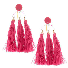 "Gold 3"" Rainbow Striped Tassel Drop Earrings - Pink,"