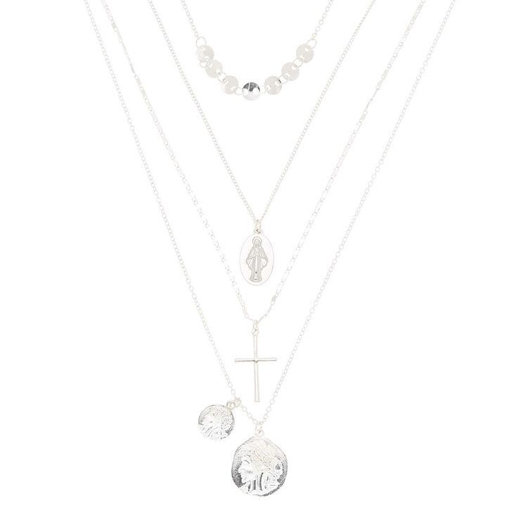 Silver Relic & Cross Multi Strand Necklace,