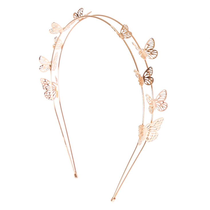 Rose Gold Double Row Butterfly Headband,