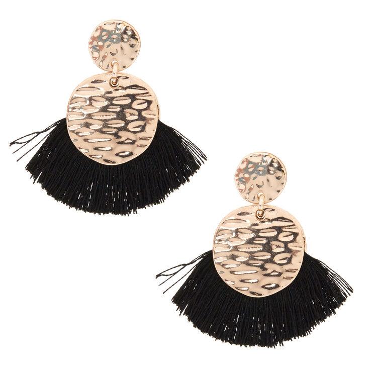 Black Tassel Drop Earrings,