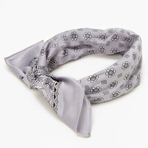 Floral Paisley Silky Bandana Headwrap - Silver,
