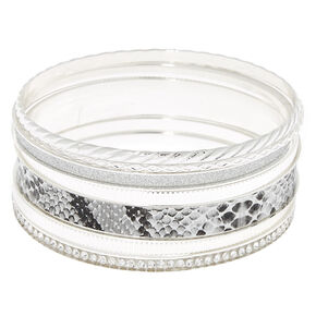 Silver Snakeskin Bangle Bracelets - 7 Pack,