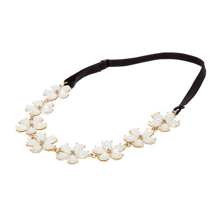 Ivory Glitter Stone Flowers Headwrap,